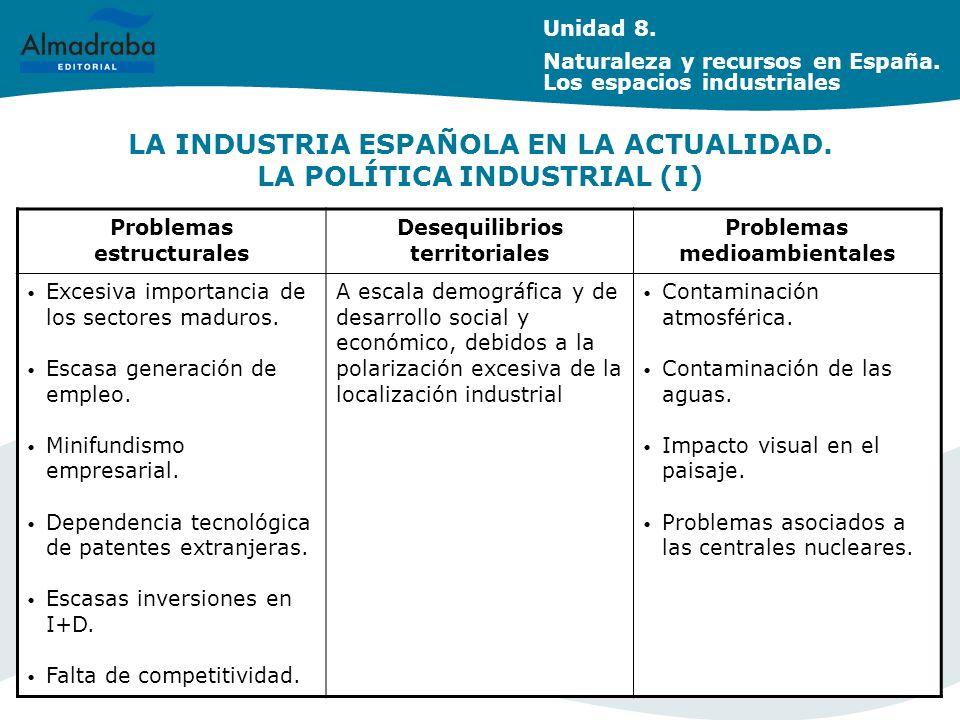 LA INDUSTRIA ESPAÑOLA EN LA ACTUALIDAD. LA POLÍTICA INDUSTRIAL (I)