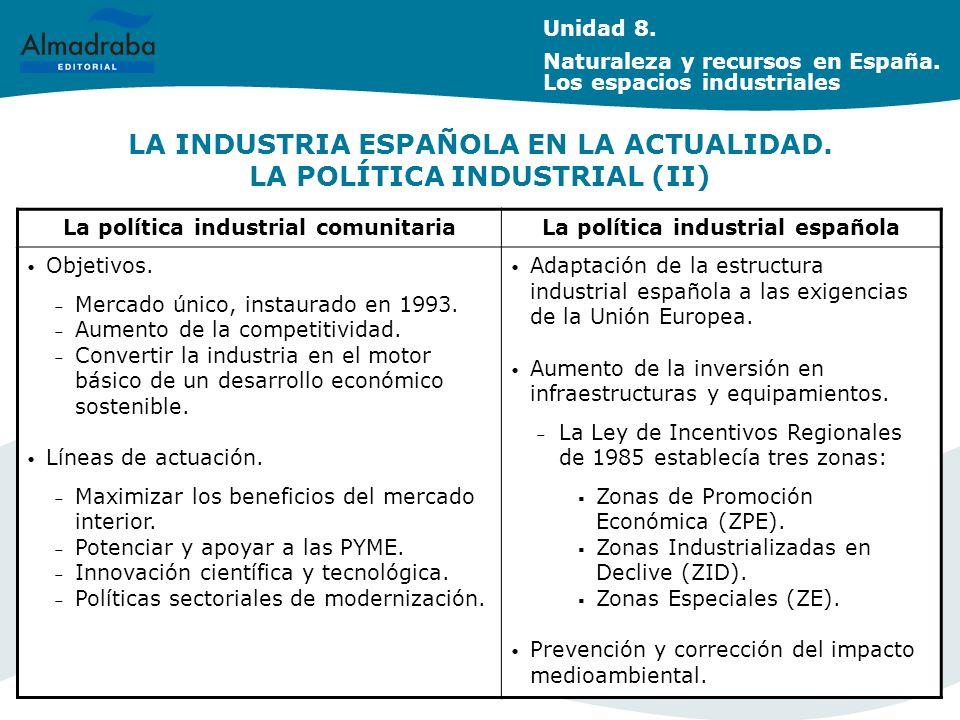 LA INDUSTRIA ESPAÑOLA EN LA ACTUALIDAD. LA POLÍTICA INDUSTRIAL (II)