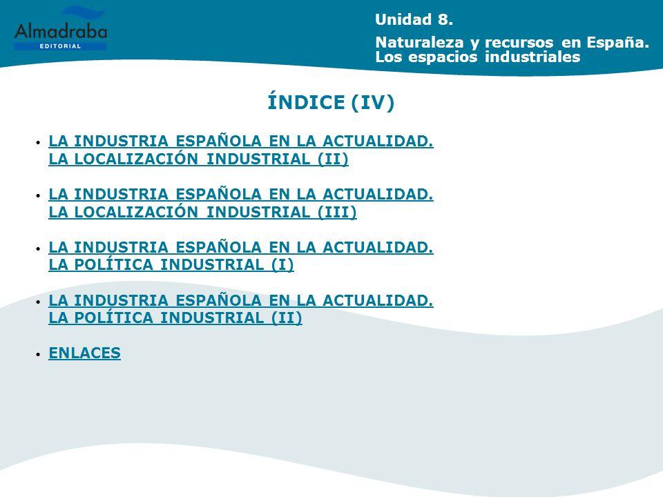 Unidad 8. Naturaleza y recursos en España. Los espacios industriales. ÍNDICE (IV)