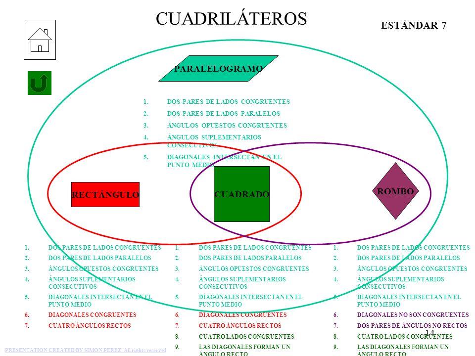 CUADRILÁTEROS ESTÁNDAR 7 PARALELOGRAMO ROMBO CUADRADO RECTÁNGULO