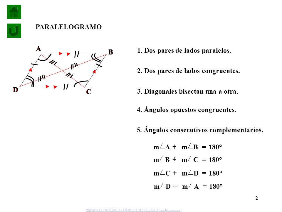 1. Dos pares de lados paralelos.