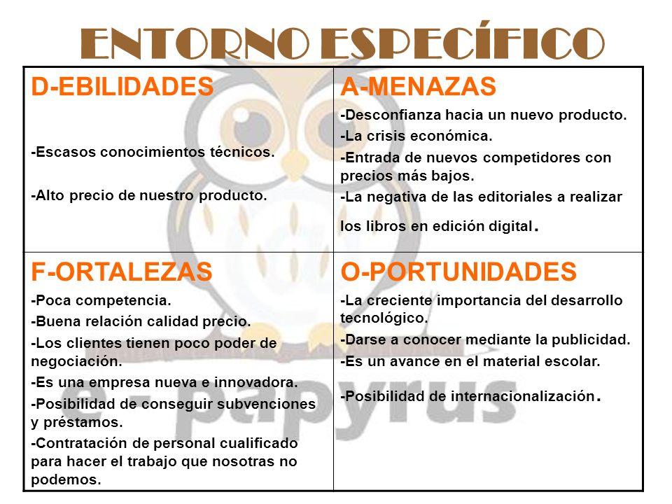 ENTORNO ESPECÍFICO D-EBILIDADES A-MENAZAS F-ORTALEZAS O-PORTUNIDADES