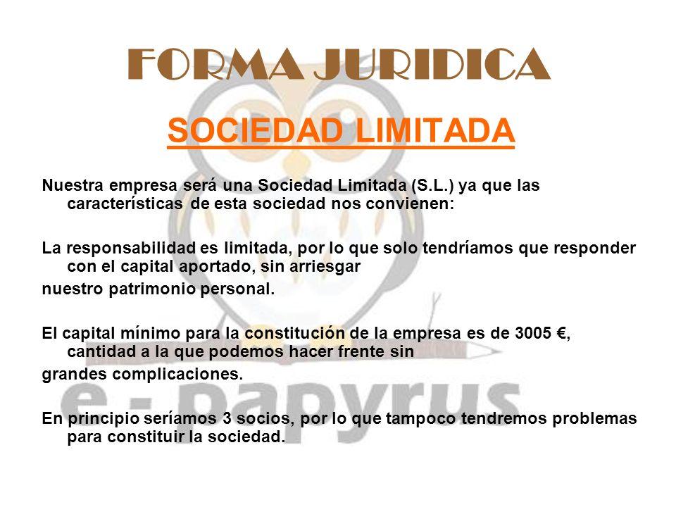 FORMA JURIDICA SOCIEDAD LIMITADA