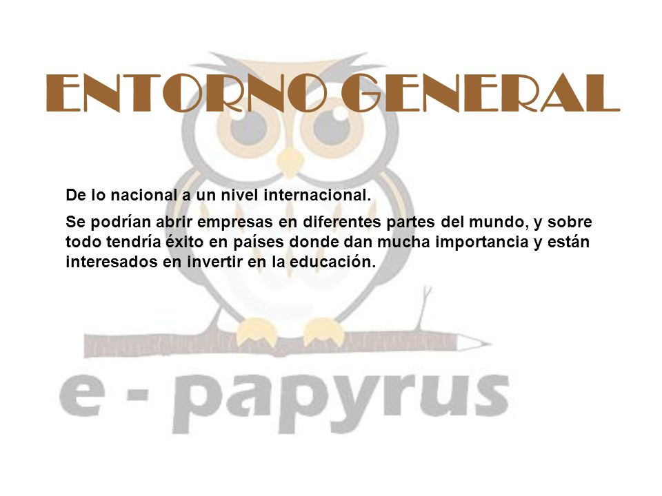 ENTORNO GENERAL De lo nacional a un nivel internacional.