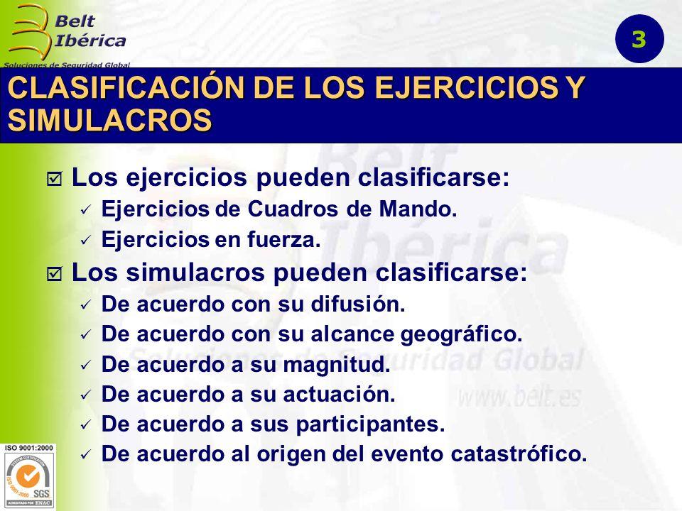 CLASIFICACIÓN DE LOS EJERCICIOS Y SIMULACROS