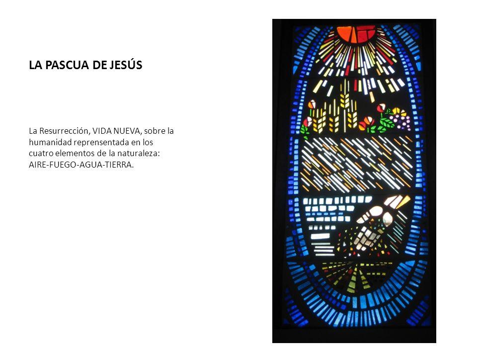 LA PASCUA DE JESÚS La Resurrección, VIDA NUEVA, sobre la humanidad reprensentada en los cuatro elementos de la naturaleza: AIRE-FUEGO-AGUA-TIERRA.