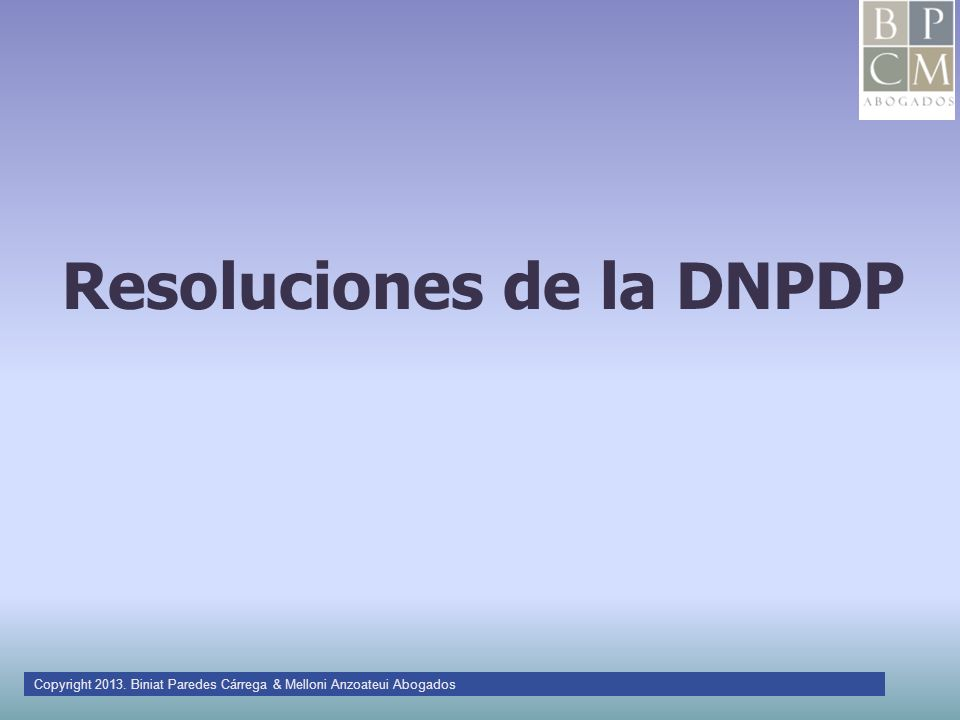 Resoluciones de la DNPDP