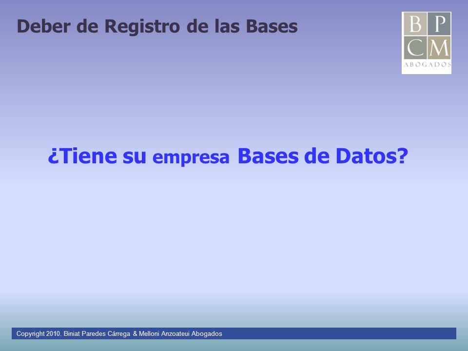 Deber de Registro de las Bases