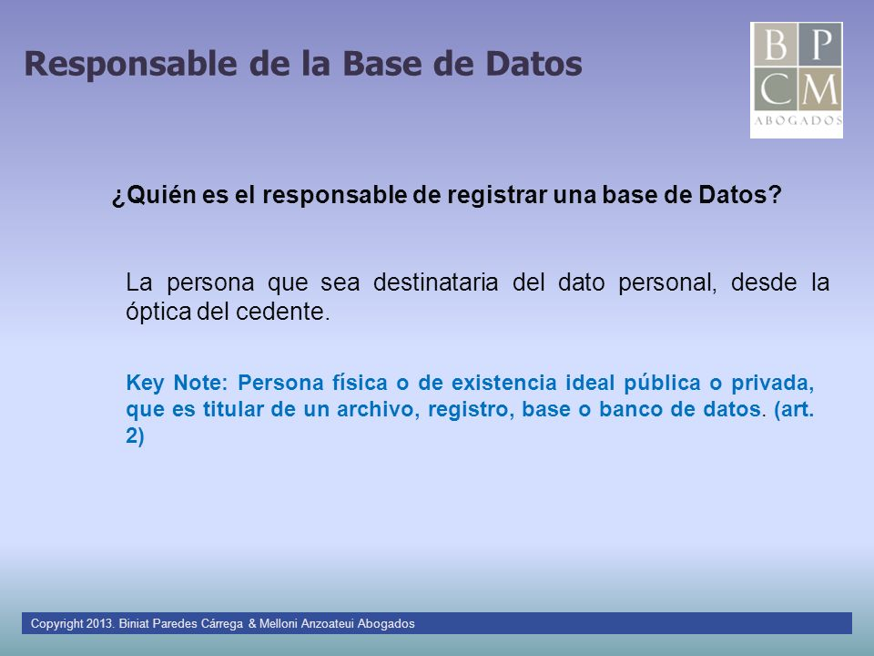 Responsable de la Base de Datos