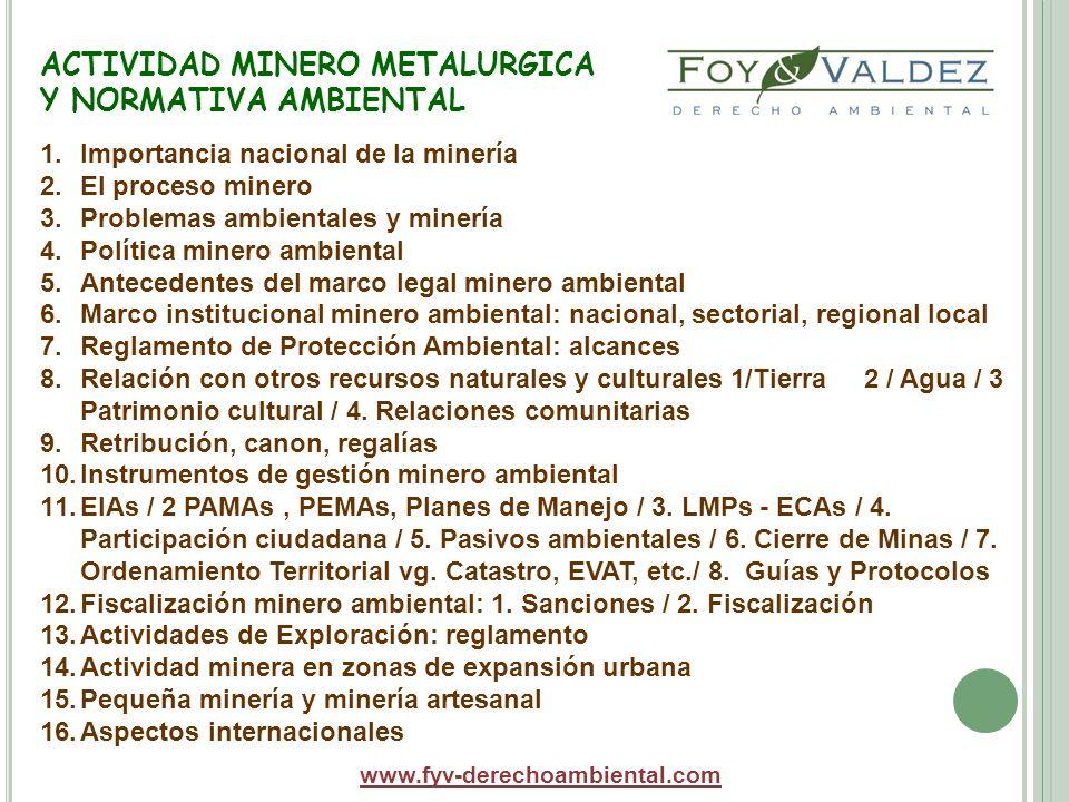 ACTIVIDAD MINERO METALURGICA Y NORMATIVA AMBIENTAL