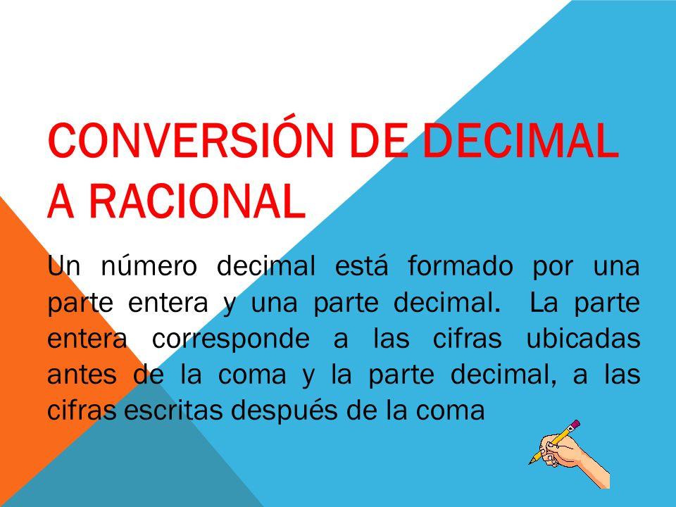 CONVERSIÓN DE DECIMAL A RACIONAL