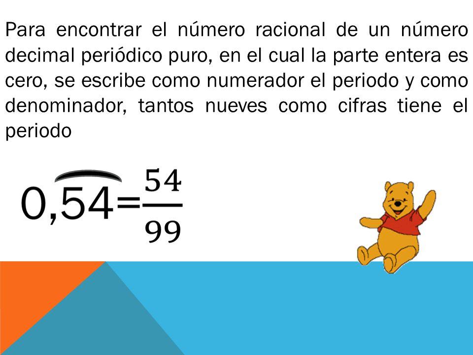 Para encontrar el número racional de un número decimal periódico puro, en el cual la parte entera es cero, se escribe como numerador el periodo y como denominador, tantos nueves como cifras tiene el periodo