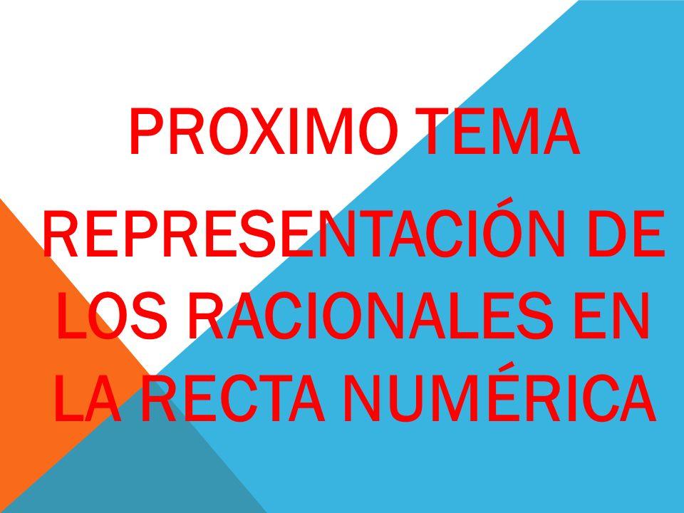 REPRESENTACIÓN DE LOS RACIONALES EN LA RECTA NUMÉRICA