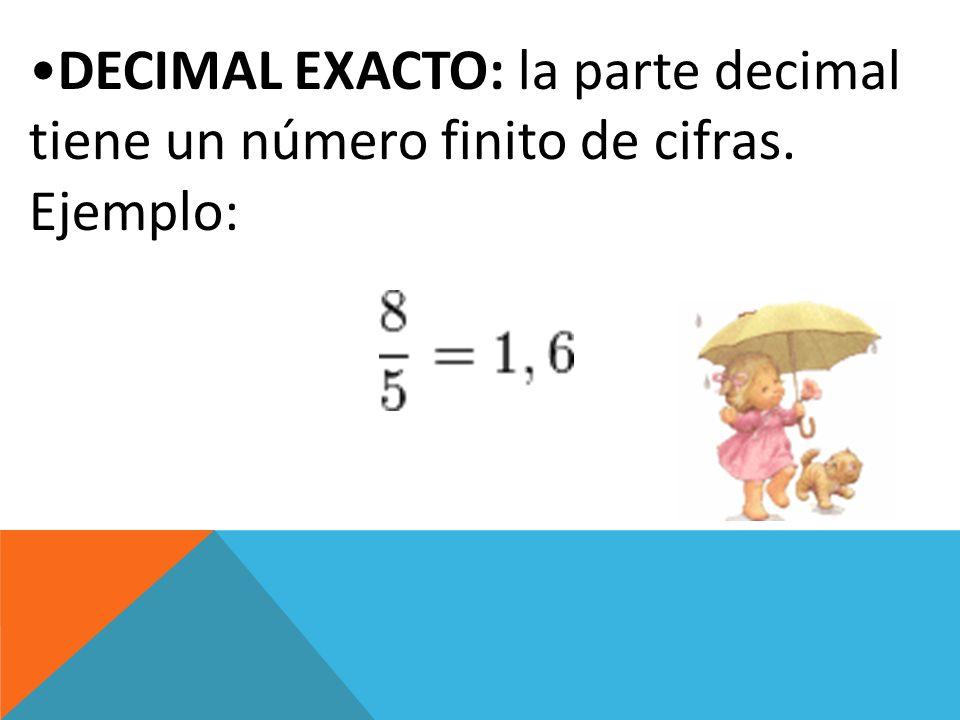 DECIMAL EXACTO: la parte decimal tiene un número finito de cifras.