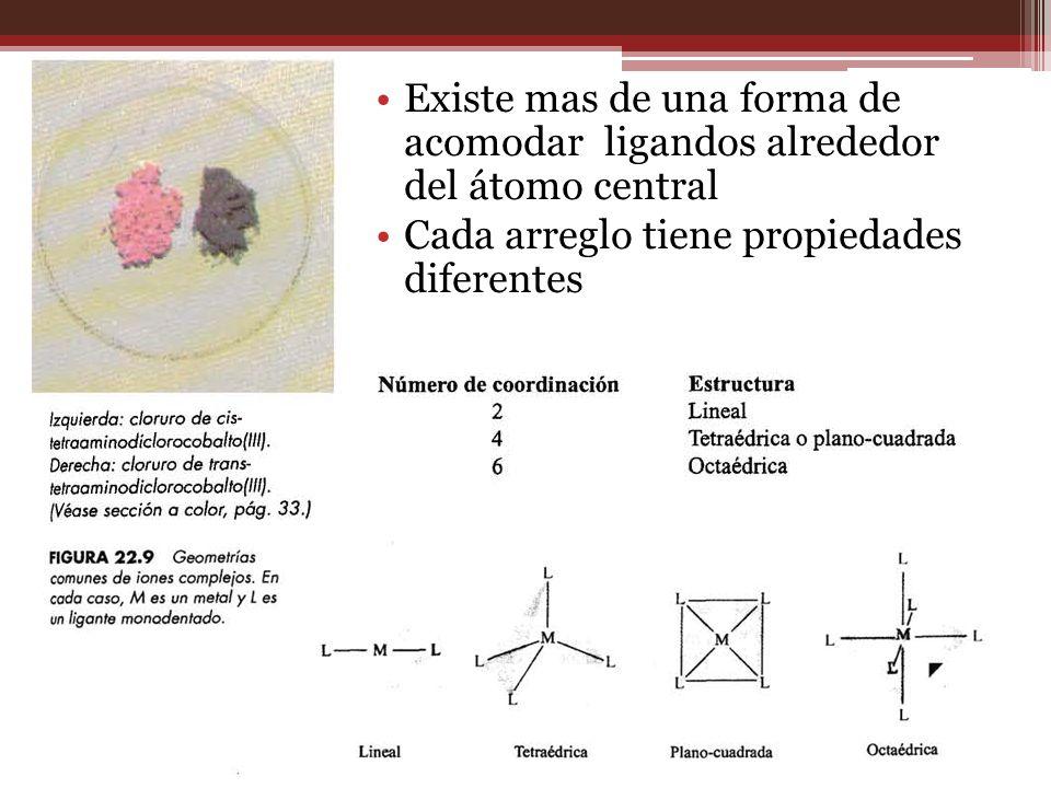 Existe mas de una forma de acomodar ligandos alrededor del átomo central