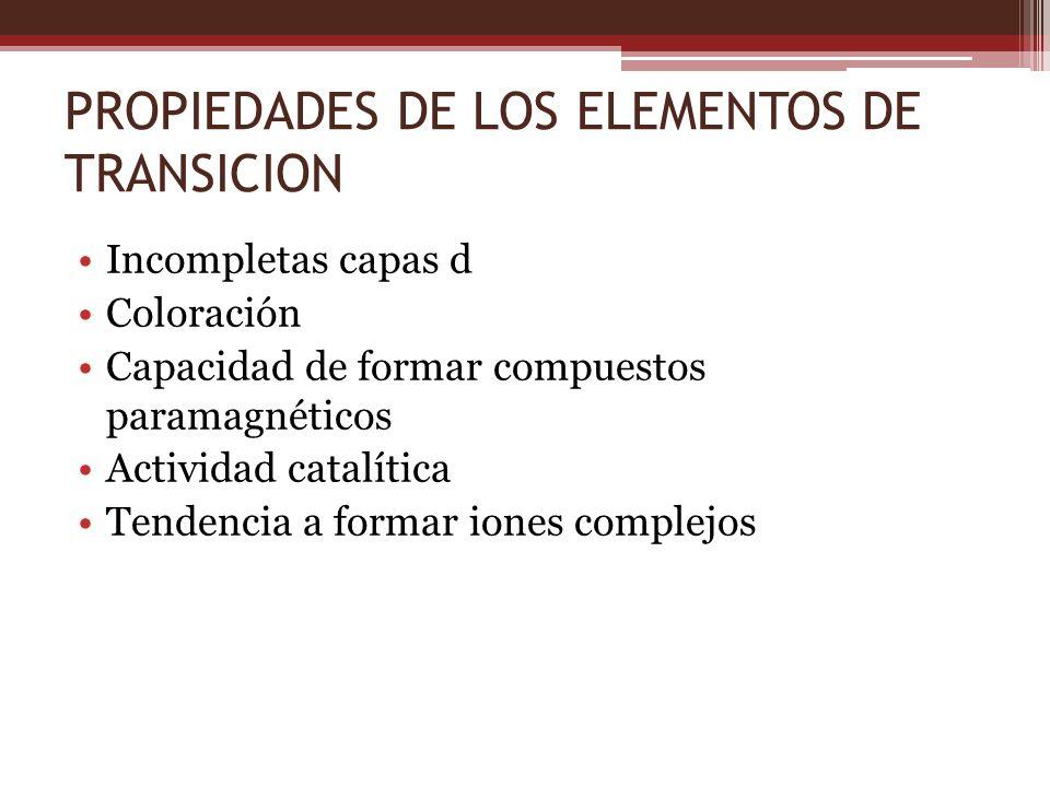 PROPIEDADES DE LOS ELEMENTOS DE TRANSICION