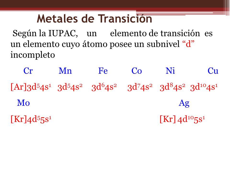 Metales de Transición Según la IUPAC, un elemento de transición es un elemento cuyo átomo posee un subnivel d incompleto.