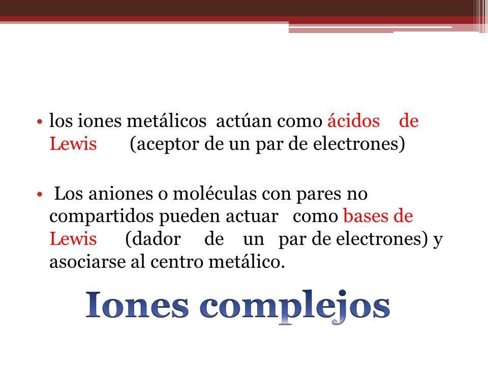 los iones metálicos actúan como ácidos de Lewis (aceptor de un par de electrones)