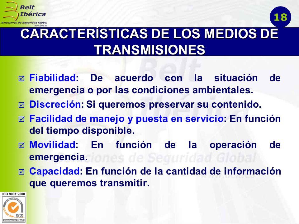 CARACTERÍSTICAS DE LOS MEDIOS DE TRANSMISIONES