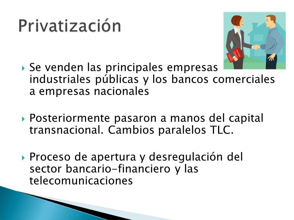 Privatización Se venden las principales empresas industriales públicas y los bancos comerciales a empresas nacionales.