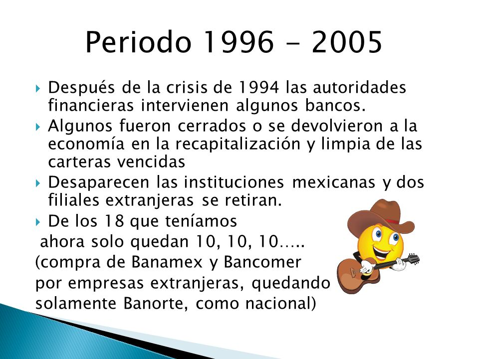 Periodo 1996 - 2005 Después de la crisis de 1994 las autoridades financieras intervienen algunos bancos.