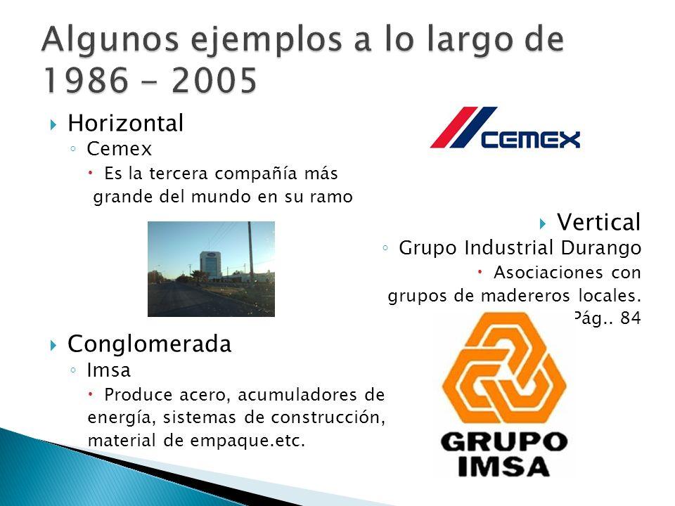 Algunos ejemplos a lo largo de 1986 - 2005