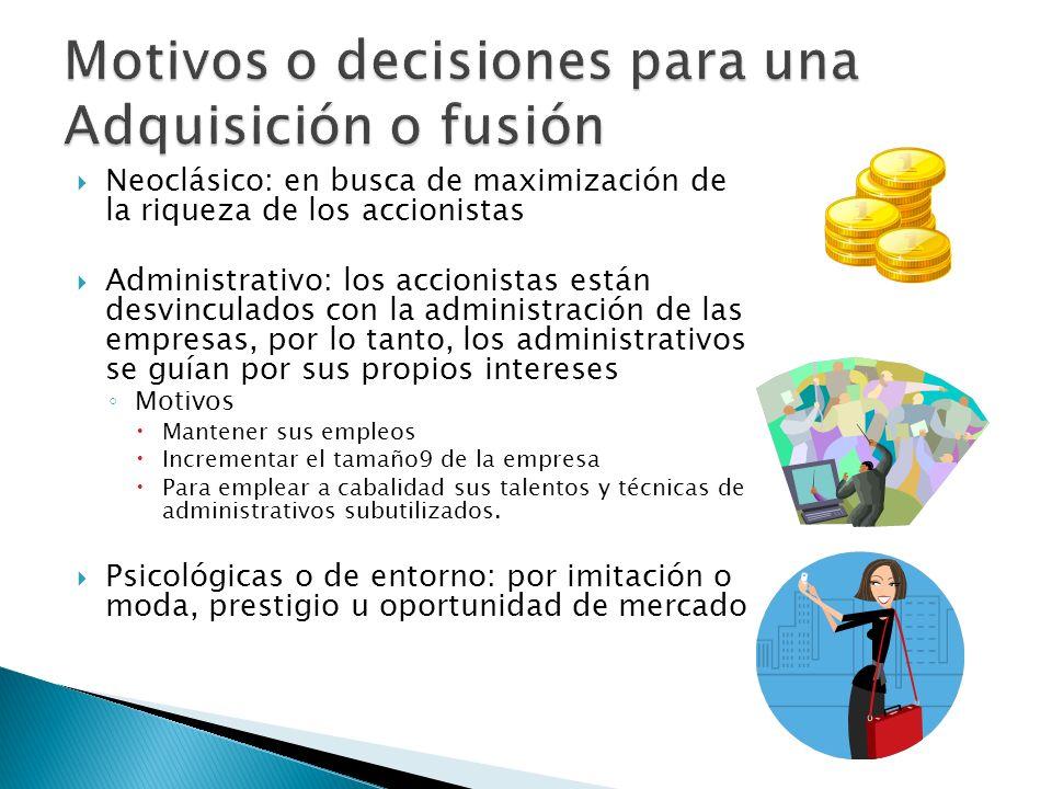 Motivos o decisiones para una Adquisición o fusión