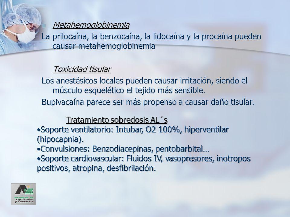 MetahemoglobinemiaLa prilocaína, la benzocaína, la lidocaína y la procaína pueden causar metahemoglobinemia.