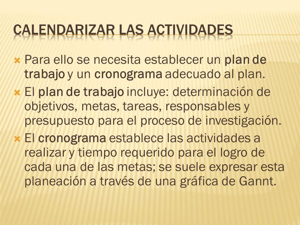 Calendarizar las actividades