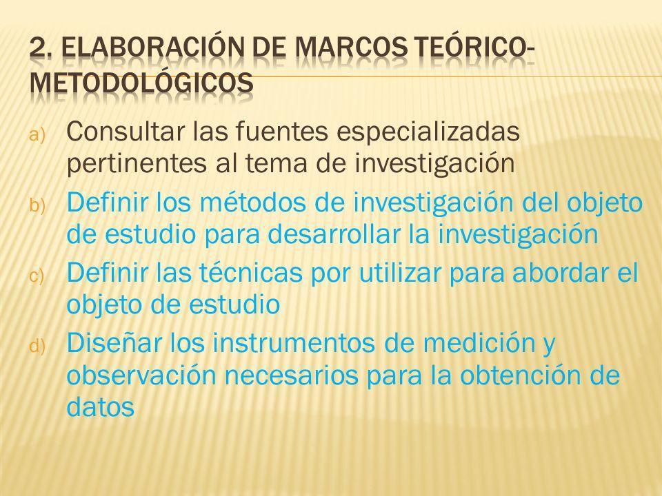 2. Elaboración de marcos teórico-metodológicos