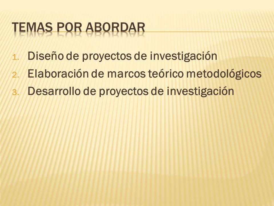 Temas por abordar Diseño de proyectos de investigación