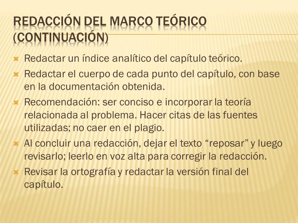 Redacción del marco teórico (continuación)