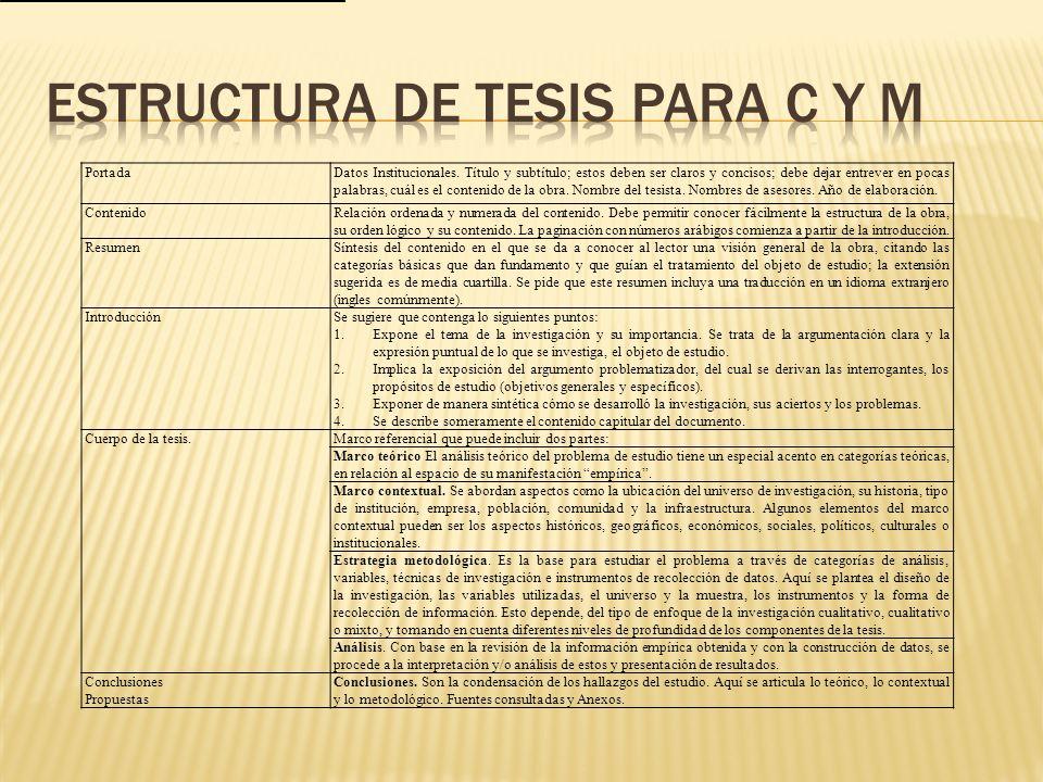estructura de tesis para C y M