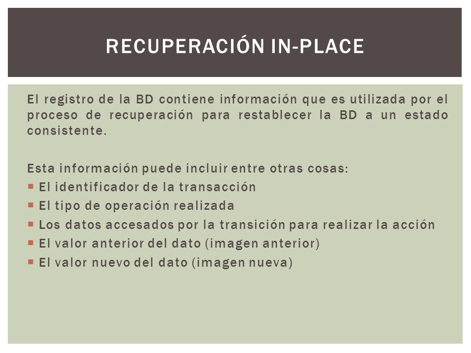 Recuperación in-place