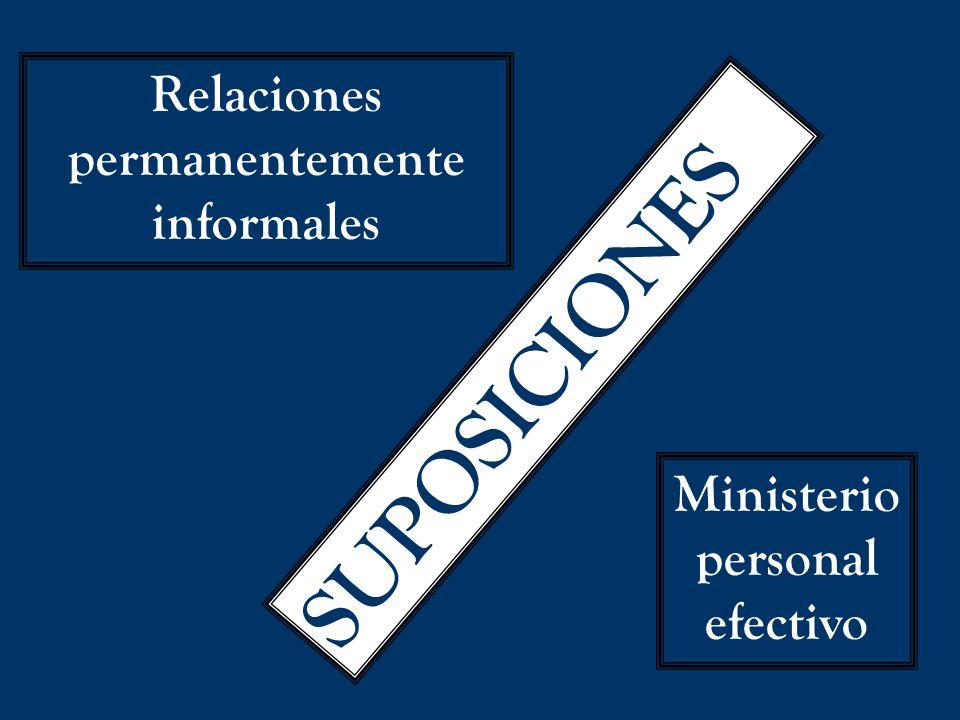 SUPOSICIONES Relaciones permanentemente informales Ministerio personal