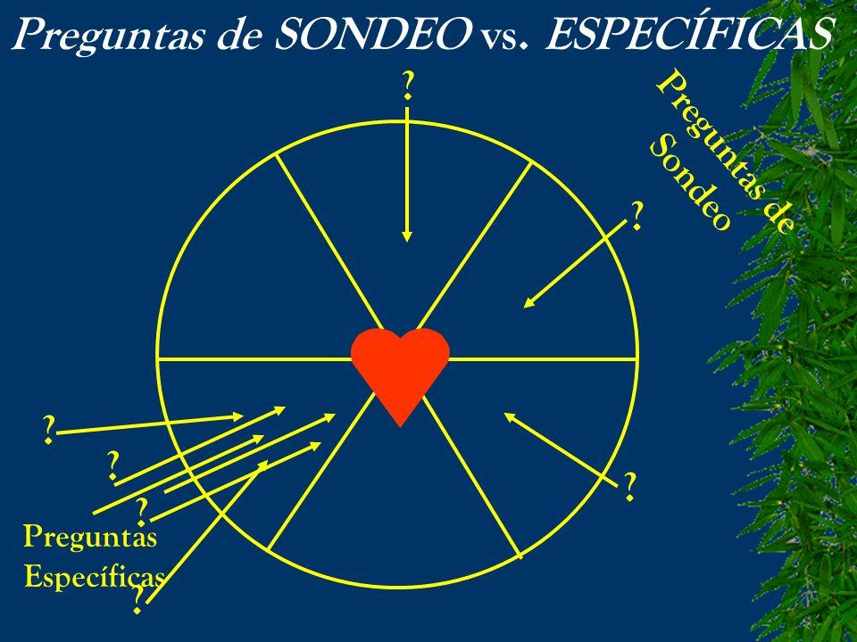 Preguntas de SONDEO vs. ESPECÍFICAS