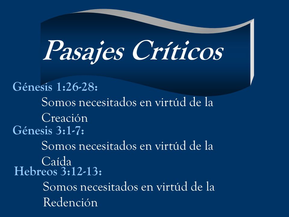 Pasajes Críticos Génesis 1:26-28: Somos necesitados en virtúd de la