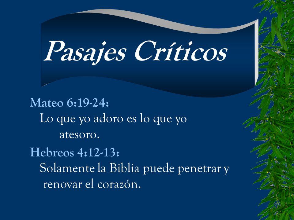 Pasajes Críticos Mateo 6:19-24: Lo que yo adoro es lo que yo atesoro.