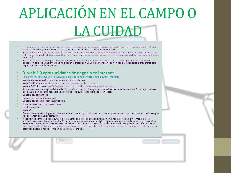 POSIBLES CAMPOS DE APLICACIÓN EN EL CAMPO O LA CUIDAD