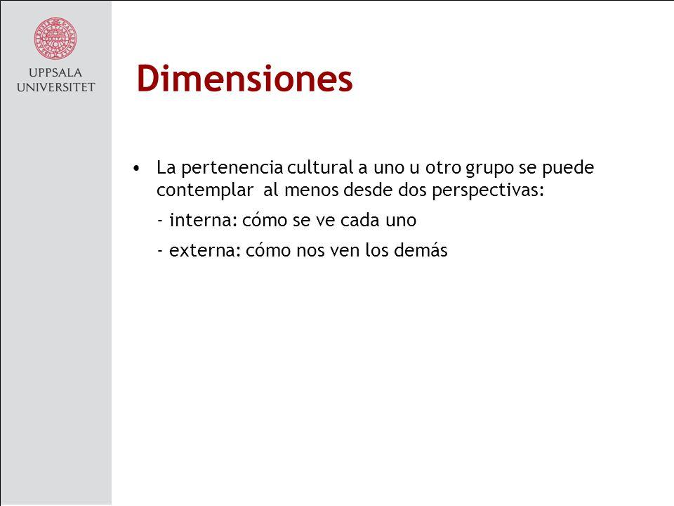 Dimensiones La pertenencia cultural a uno u otro grupo se puede contemplar al menos desde dos perspectivas: