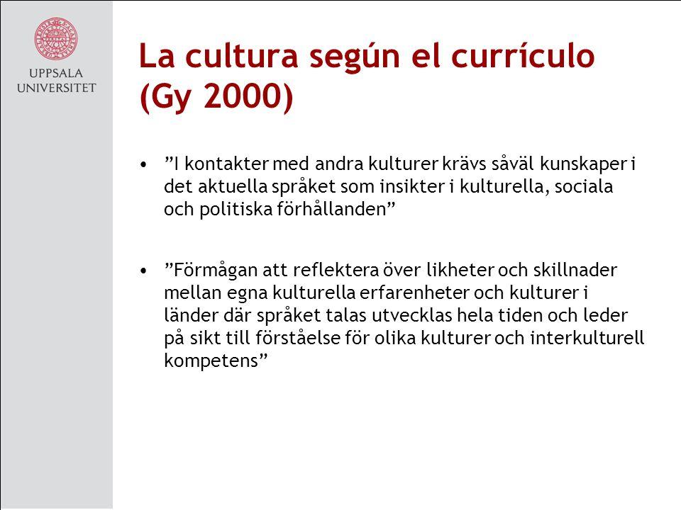 La cultura según el currículo (Gy 2000)