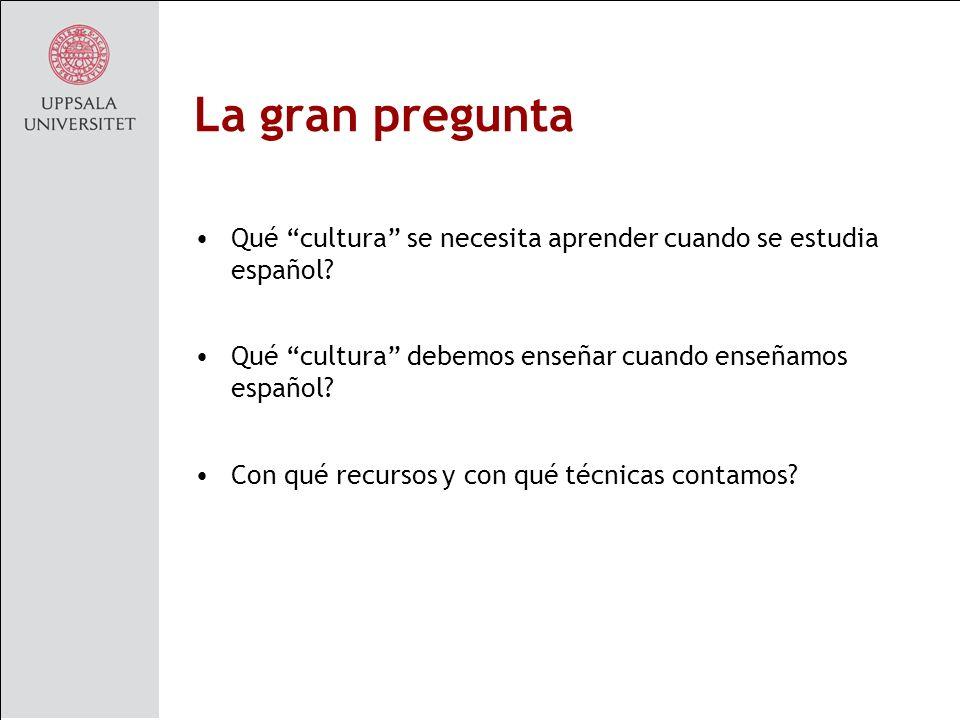 La gran pregunta Qué cultura se necesita aprender cuando se estudia español Qué cultura debemos enseñar cuando enseñamos español