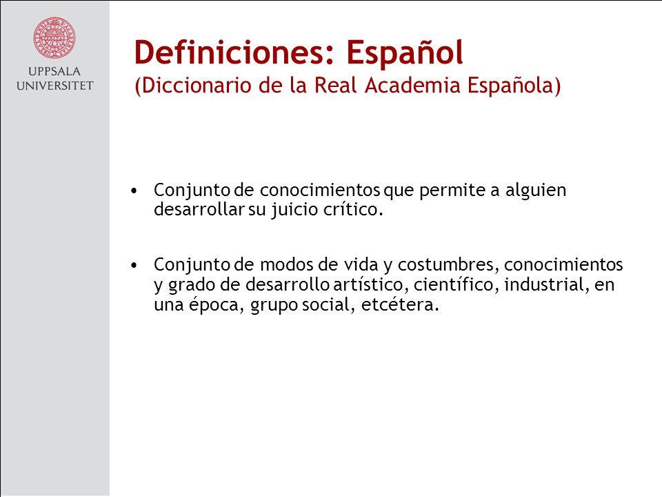Definiciones: Español (Diccionario de la Real Academia Española)