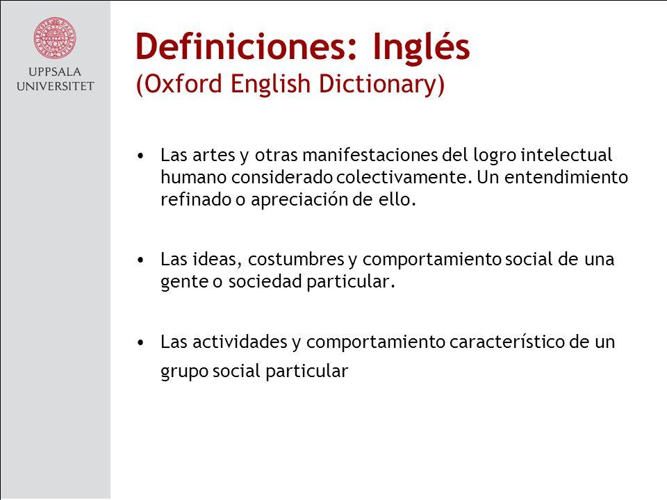 Definiciones: Inglés (Oxford English Dictionary)
