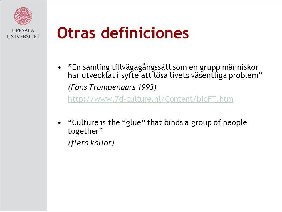 Otras definiciones En samling tillvägagångssätt som en grupp människor har utvecklat i syfte att lösa livets väsentliga problem