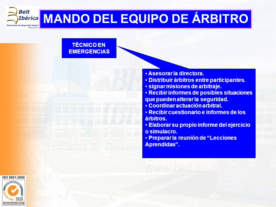 MANDO DEL EQUIPO DE ÁRBITRO