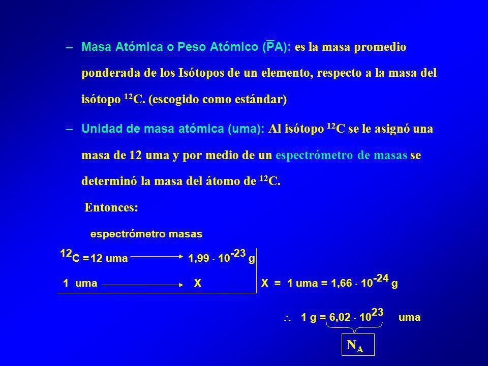 Masa Atómica o Peso Atómico (PA): es la masa promedio ponderada de los Isótopos de un elemento, respecto a la masa del isótopo 12C. (escogido como estándar)