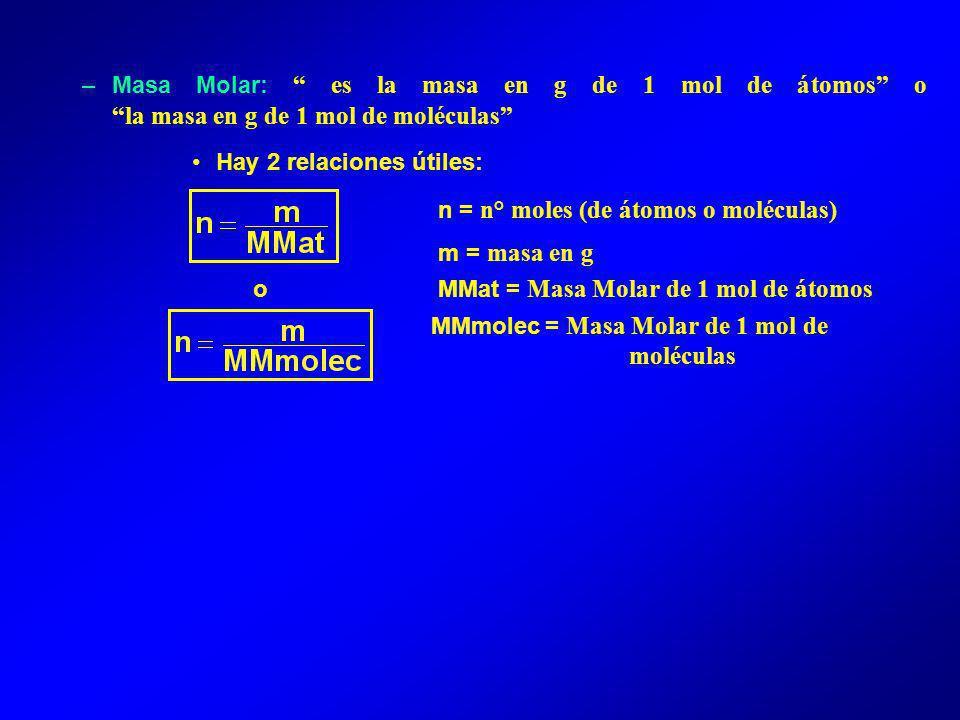 Masa Molar: es la masa en g de 1 mol de átomos o la masa en g de 1 mol de moléculas