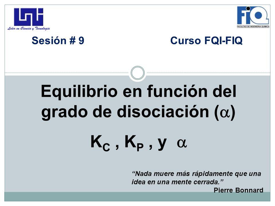 Equilibrio en función del grado de disociación ()