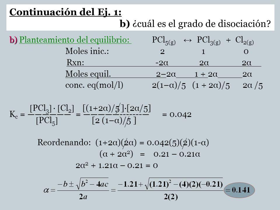 Continuación del Ej. 1: b) ¿cuál es el grado de disociación